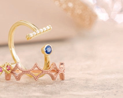 14 Karat Yellow Gold Negative Space Birthstone and Diamond Ring