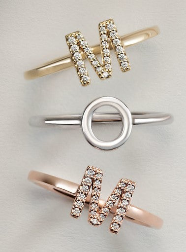 14 Karat Rose Gold and Diamond Initial Ring