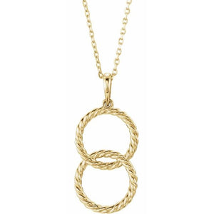 14 Karat Interlocking Circle Necklace
