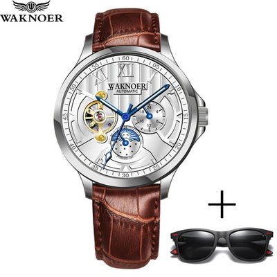 WAKNOER Luxury Tourbillon Waterproof Watch Men Mechanical Watch Fashion Skeleton Automatic Watch Black Stainless Steel Clock