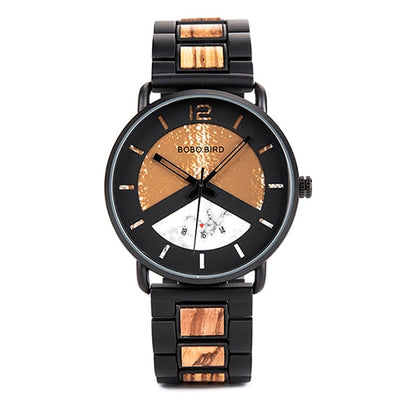 BOBO BIRD Chronograph Men Watch Wooden Brand Luxury Metal Clock montre design homme
