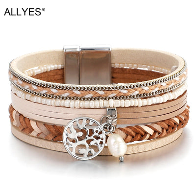ALLYES Tree of Life Leather Fashion Bracelets Woman 2019  Ladies Bohemian Multilayer Wide Wrap Bracelets &Bangles Female Jewelry