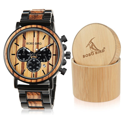 relogio masculino BOBO BIRD Wooden Men Watch Luxury Stylish Wood Timepieces Chronograph Military Quartz Watches in Gift Box