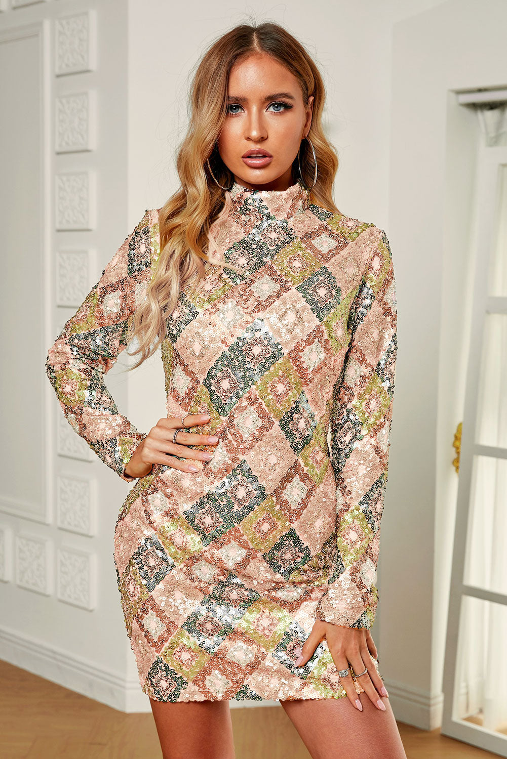 Aztec Sequin High Neck Mini Dress