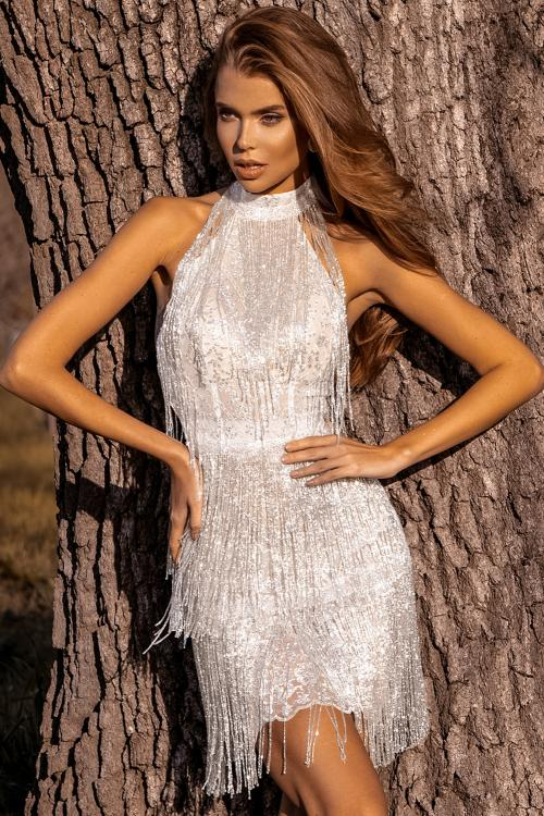 Fringed Halter Open Back Sequin Mini Dress