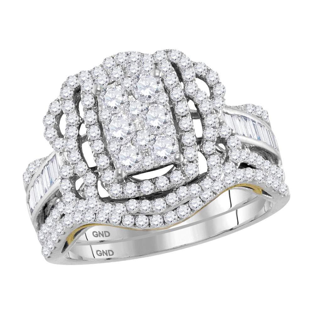 GND Bridal Ring Set 14kt Two-tone Gold Round Diamond Bridal Wedding Ring Band Set 1-1/2 Cttw