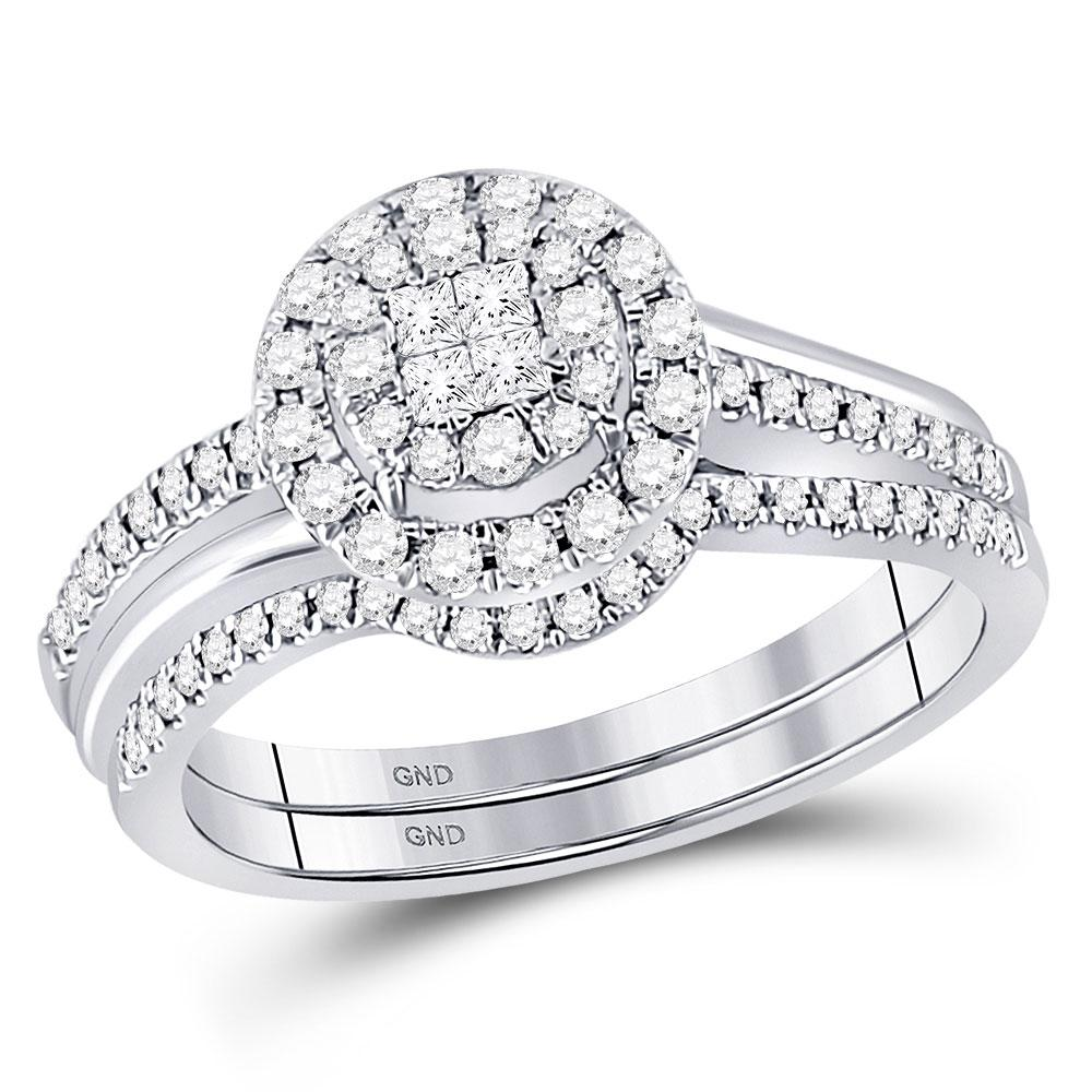 GND Bridal Ring Set 14kt White Gold Princess Diamond Bridal Wedding Ring Band Set 1/2 Cttw