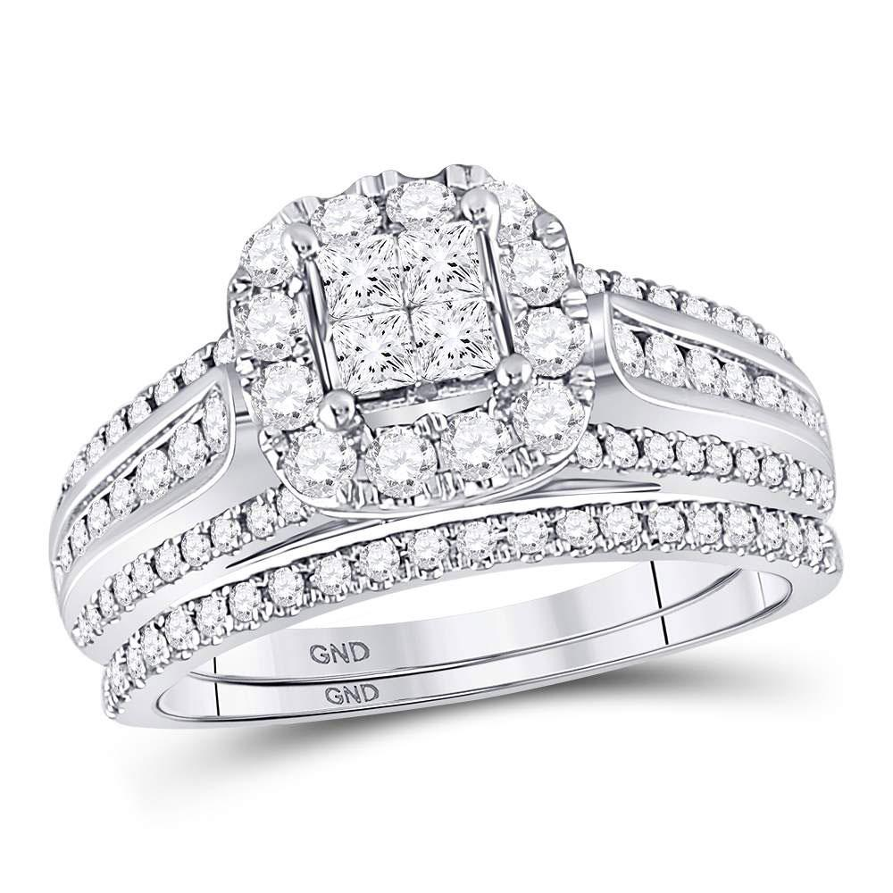 GND Bridal Ring Set 14kt White Gold Princess Diamond Bridal Wedding Ring Band Set 1 Cttw