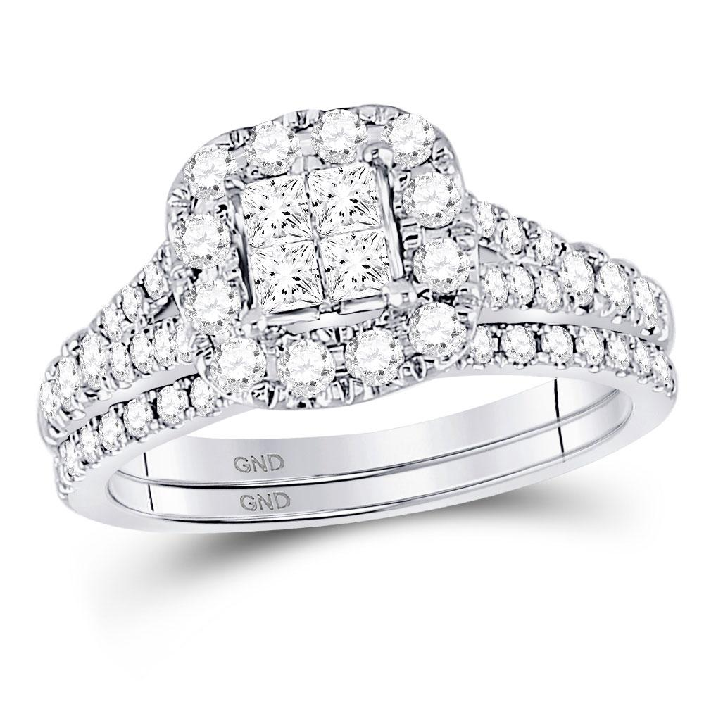 GND Bridal Ring Set 14kt White Gold Princess Diamond Cluster Bridal Wedding Ring Band Set 1 Cttw