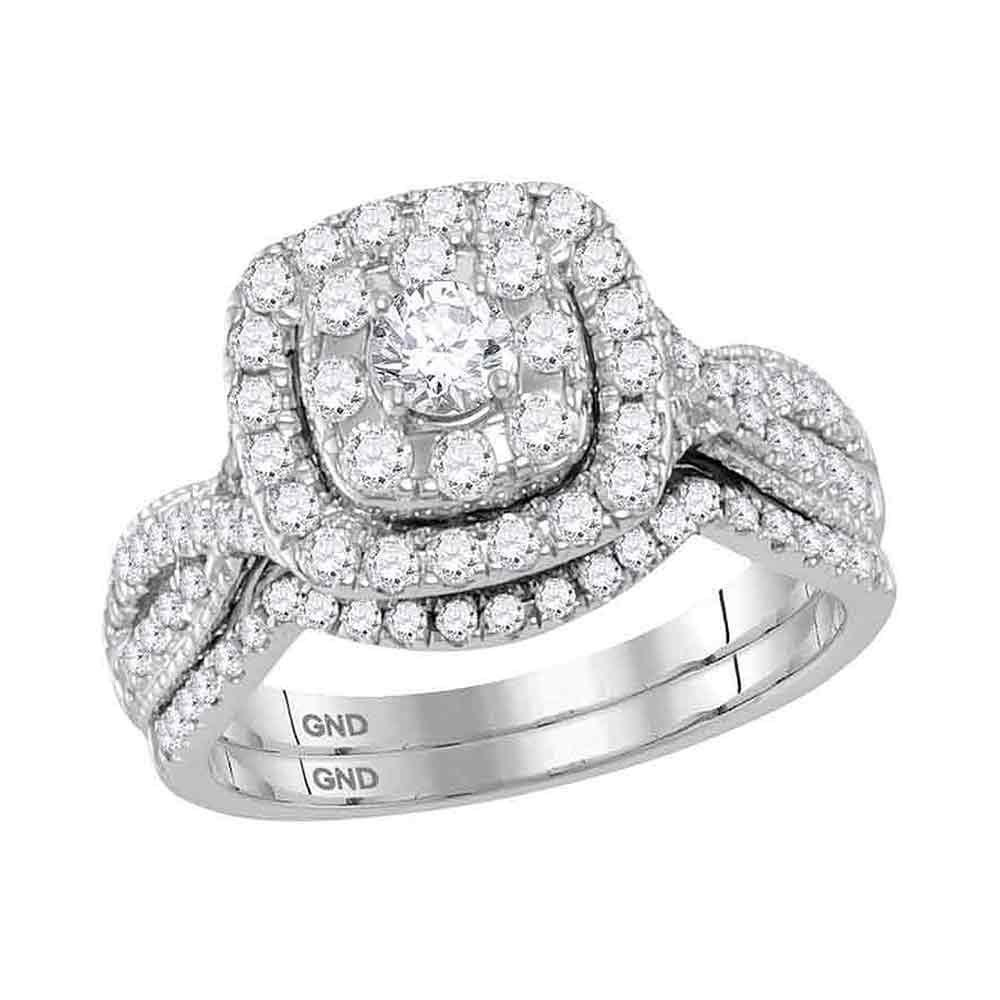 GND Bridal Ring Set 14kt White Gold Round Diamond Bridal Wedding Ring Band Set 1 Cttw