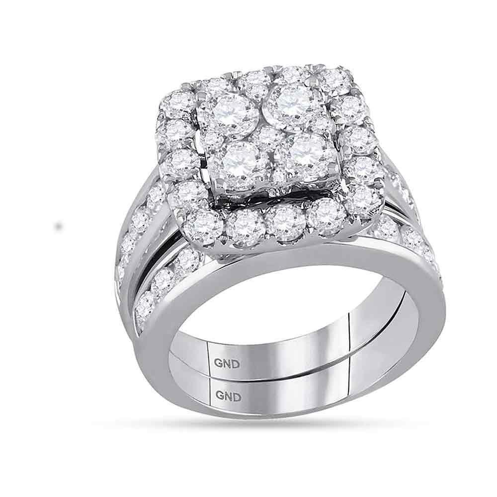 GND Bridal Ring Set 14kt White Gold Round Diamond Bridal Wedding Ring Band Set 4-1/4 Cttw