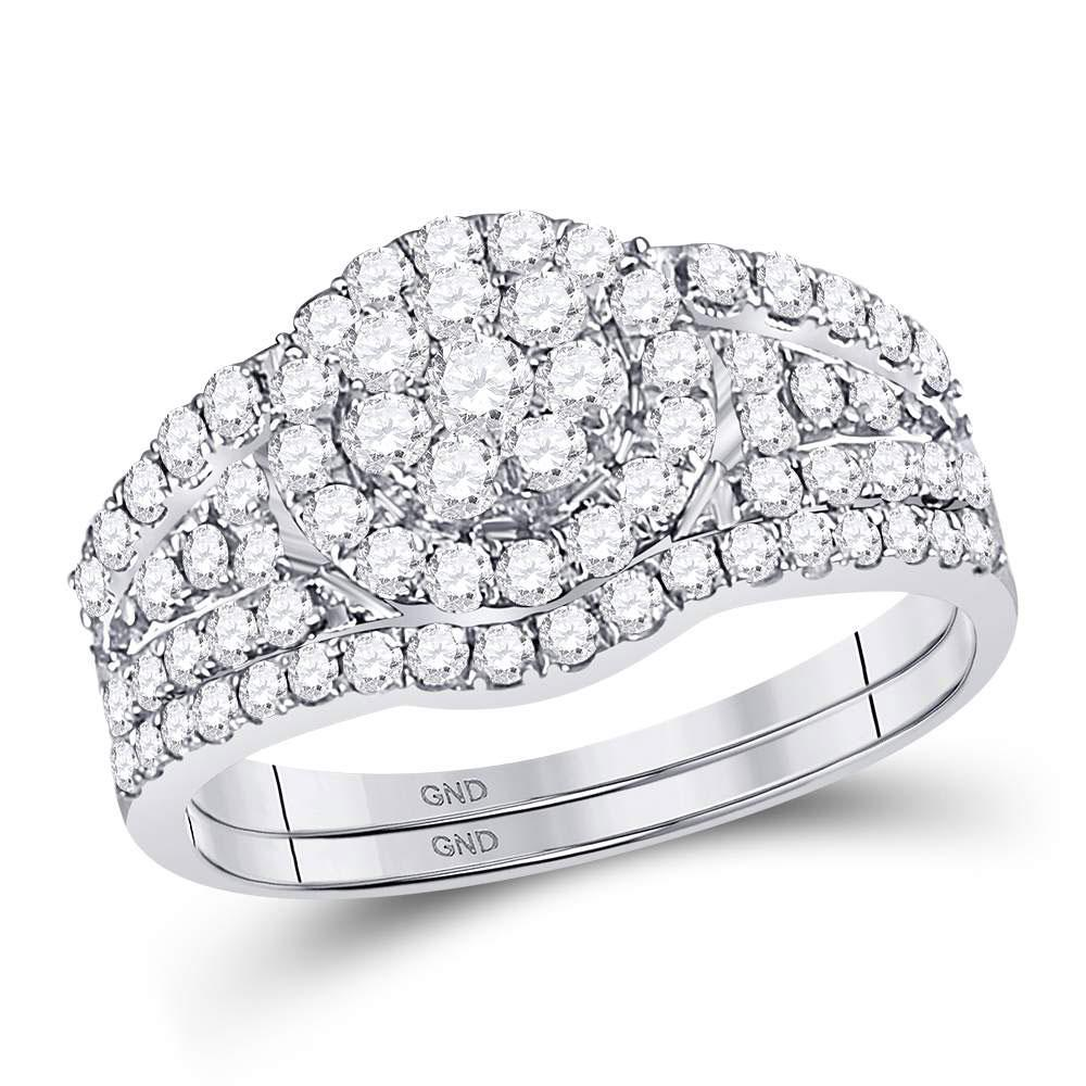 GND Bridal Ring Set 14kt White Gold Round Diamond Cluster Bridal Wedding Ring Band Set 1 Cttw