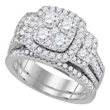 GND Bridal Ring Set 14kt White Gold Round Diamond Cluster Bridal Wedding Ring Band Set 2 Cttw
