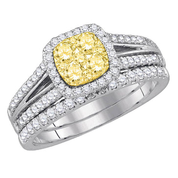 GND Bridal Ring Set 14kt White Gold Womens Round Yellow Diamond Bridal Wedding Ring Band Set 1 Cttw