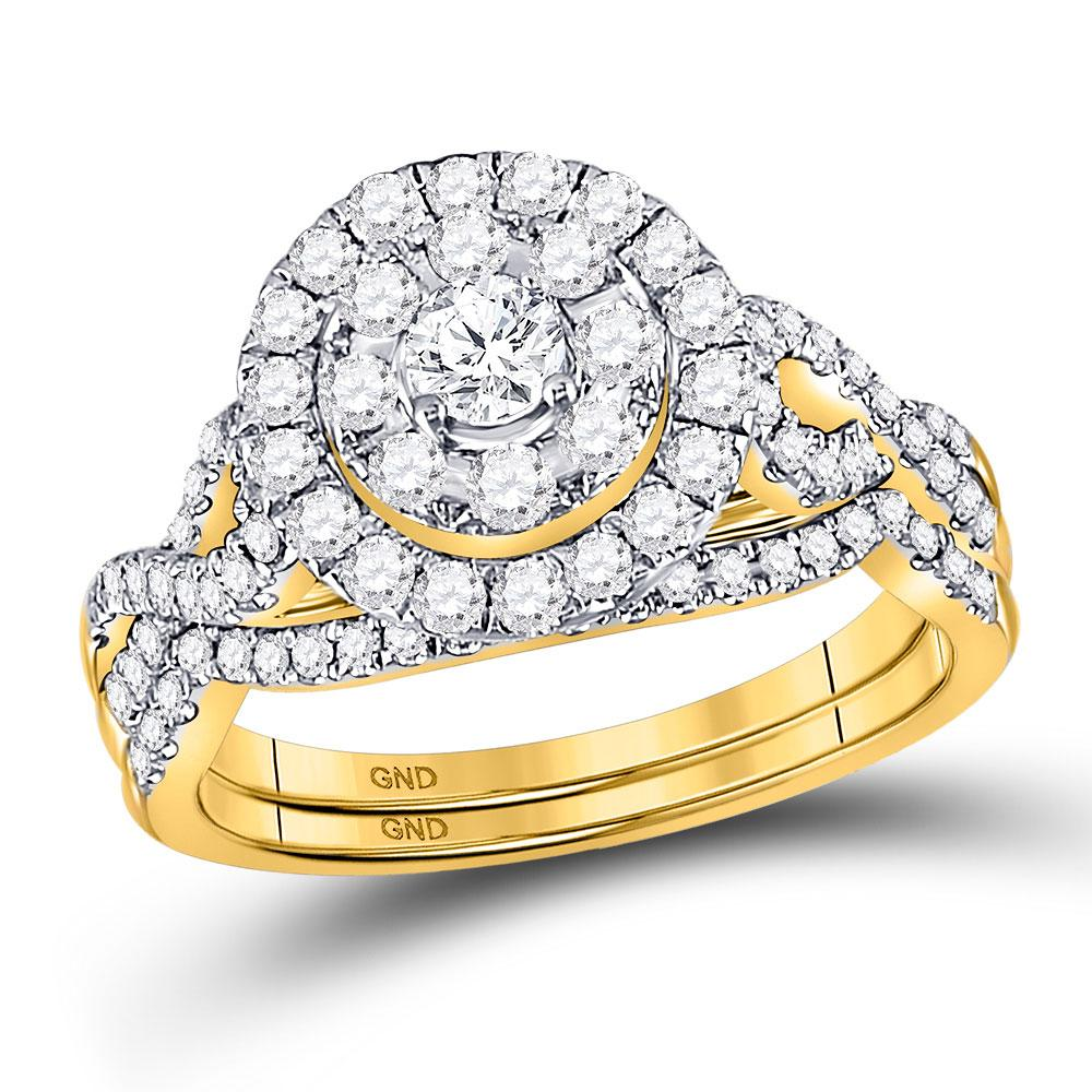 GND Bridal Ring Set 14kt Yellow Gold Round Diamond Bridal Wedding Ring Band Set 1 Cttw