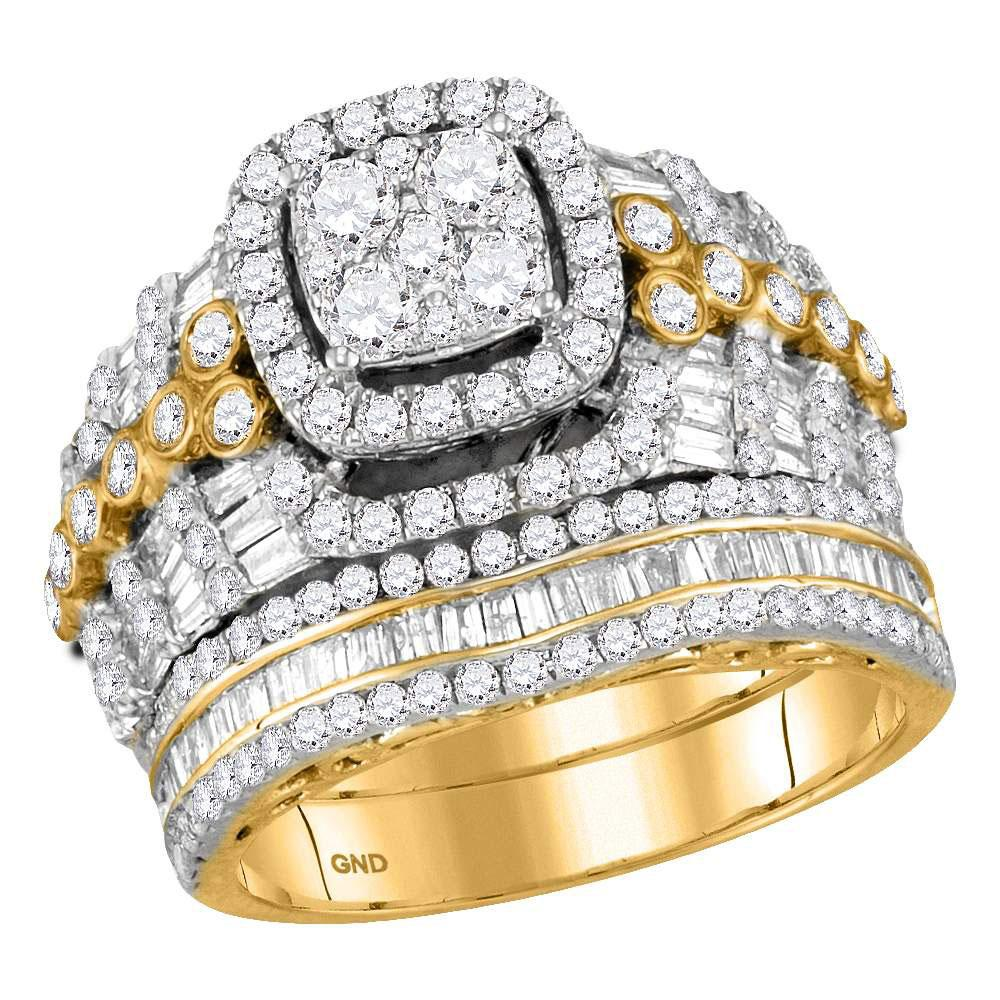 GND Bridal Ring Set 14kt Yellow Gold Round Diamond Bridal Wedding Ring Band Set 2-1/2 Cttw
