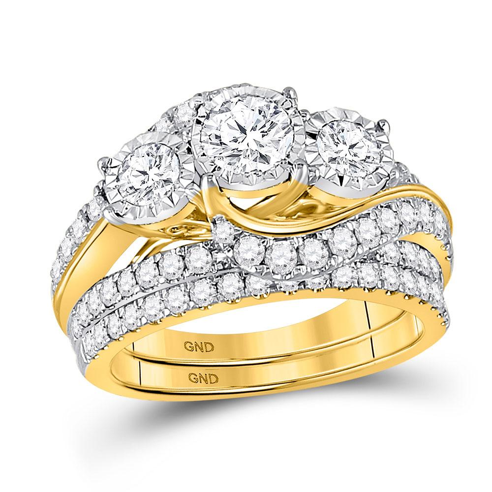 GND Bridal Ring Set 14kt Yellow Gold Round Diamond Bridal Wedding Ring Band Set 2 Cttw
