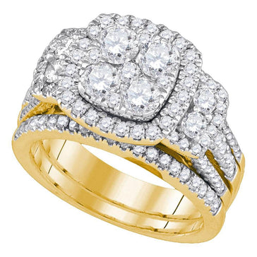 GND Bridal Ring Set 14kt Yellow Gold Round Diamond Cluster Bridal Wedding Ring Band Set 2 Cttw