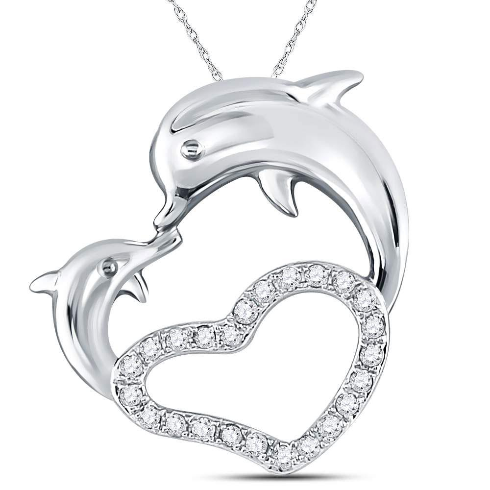 GND Diamond Animal & Bug Pendant 14kt White Gold Womens Round Diamond Double Dolphin Heart Pendant 1/6 Cttw