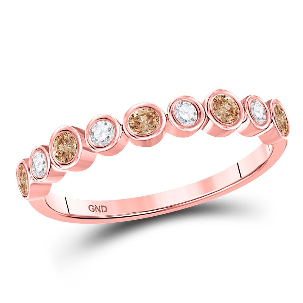 GND Diamond Band 10kt Rose Gold Womens Round Brown Diamond Band Ring 1/3 Cttw