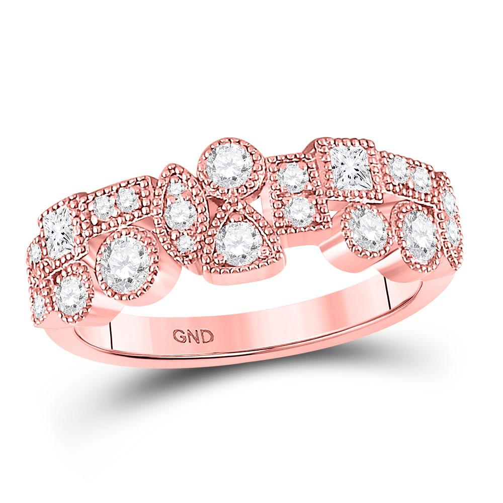 GND Diamond Band 10kt Rose Gold Womens Round Diamond Modern Gemometric Band Ring 5/8 Cttw