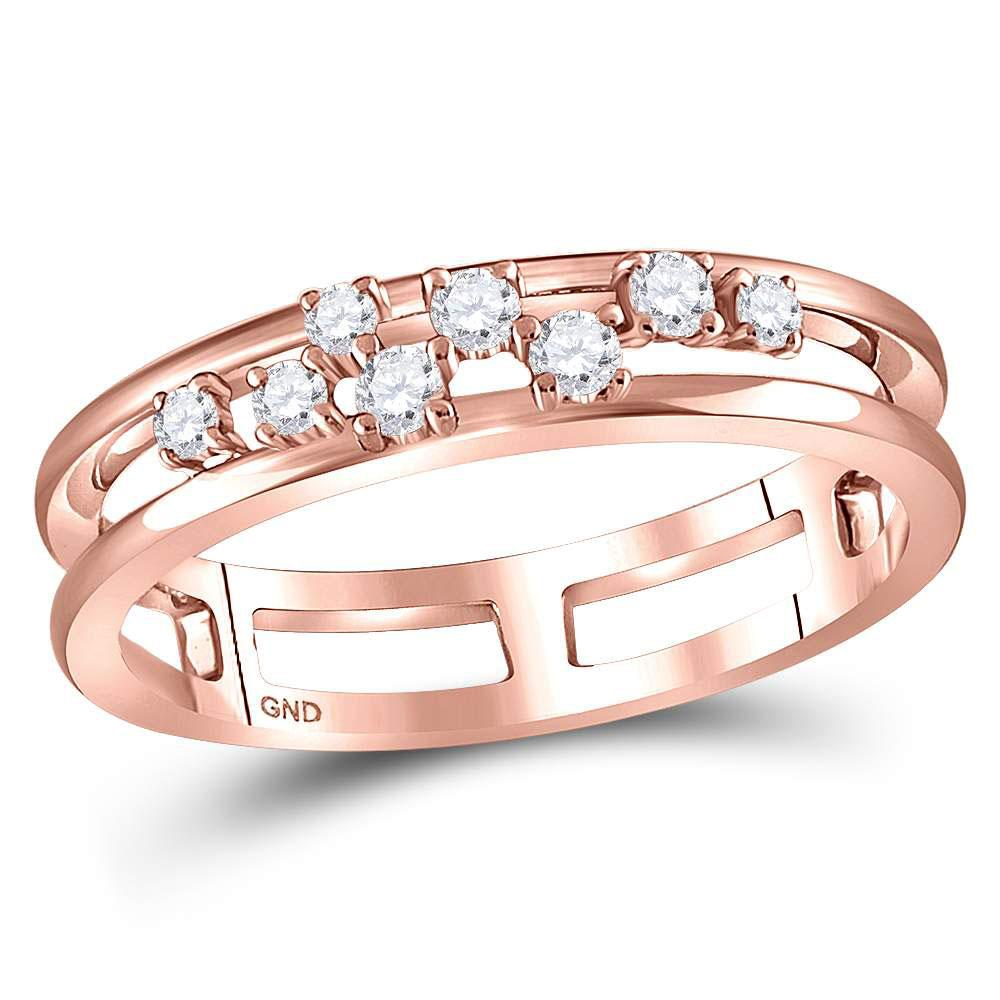 GND Diamond Band 10kt Rose Gold Womens Round Diamond Split Band Ring 1/5 Cttw