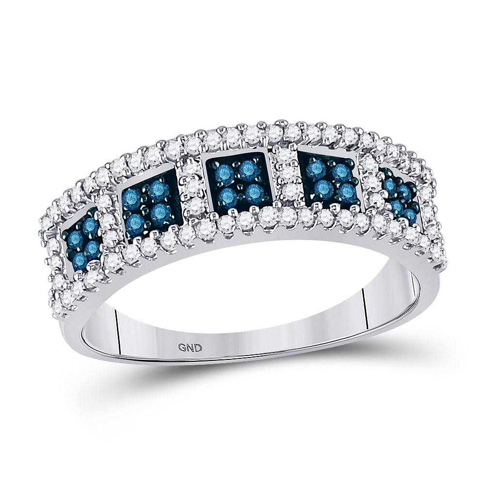 GND Diamond Band 10kt White Gold Womens Round Blue Color Enhanced Diamond Band Ring 1/2 Cttw