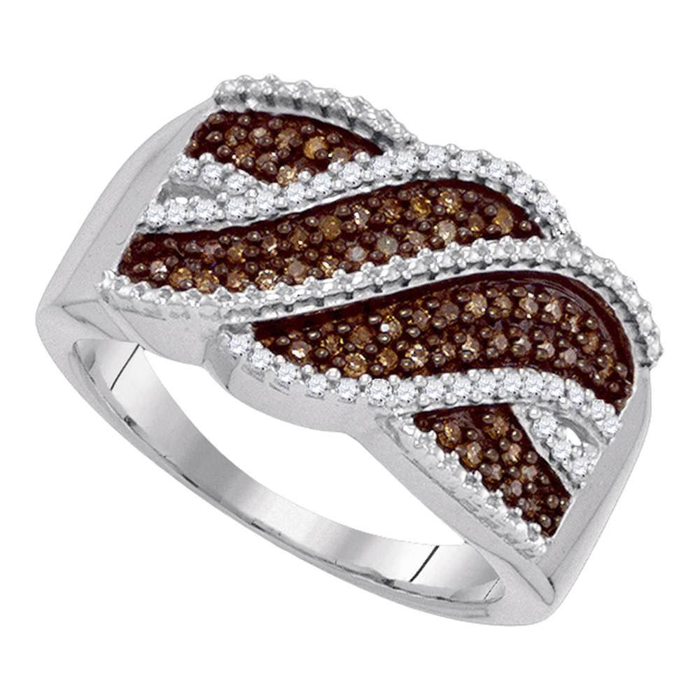 GND Diamond Band 10kt White Gold Womens Round Brown Diamond Crossover Band 1/3 Cttw