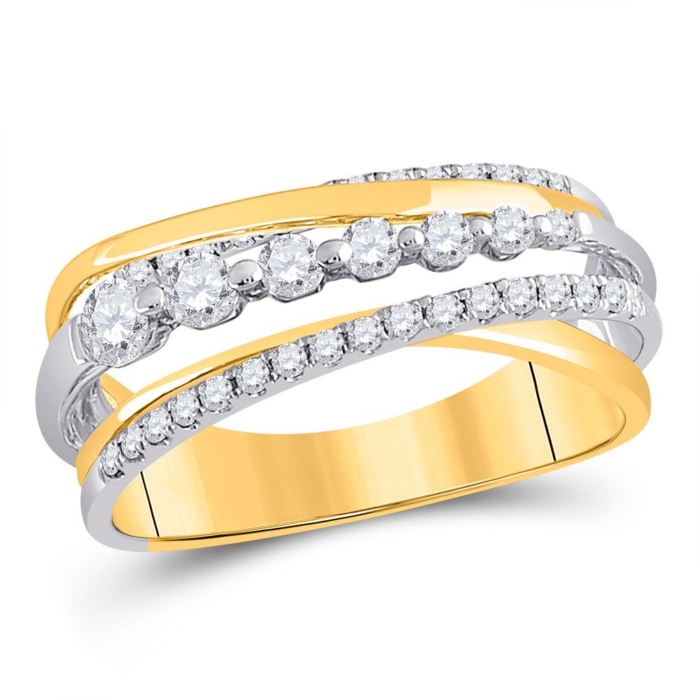 GND Diamond Band 14kt Yellow Gold Womens Round Diamond Graduated Crossover Band Ring 1/2 Cttw