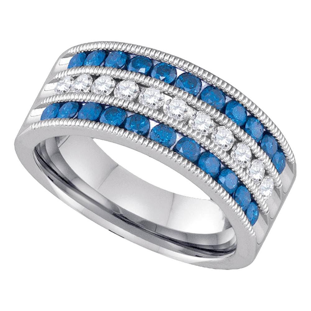 GND Diamond Band 7 10kt White Gold Womens Round Blue Color Enhanced Diamond Milgrain Striped Band Ring 1 Cttw