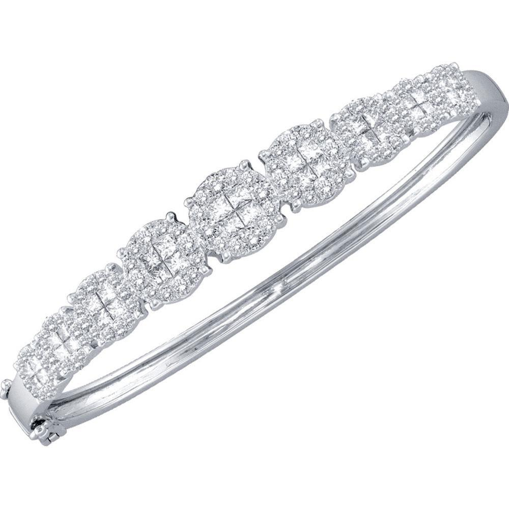 GND Diamond Bangle Bracelet 14kt White Gold Womens Princess Round Diamond Bangle Bracelet 3 Cttw