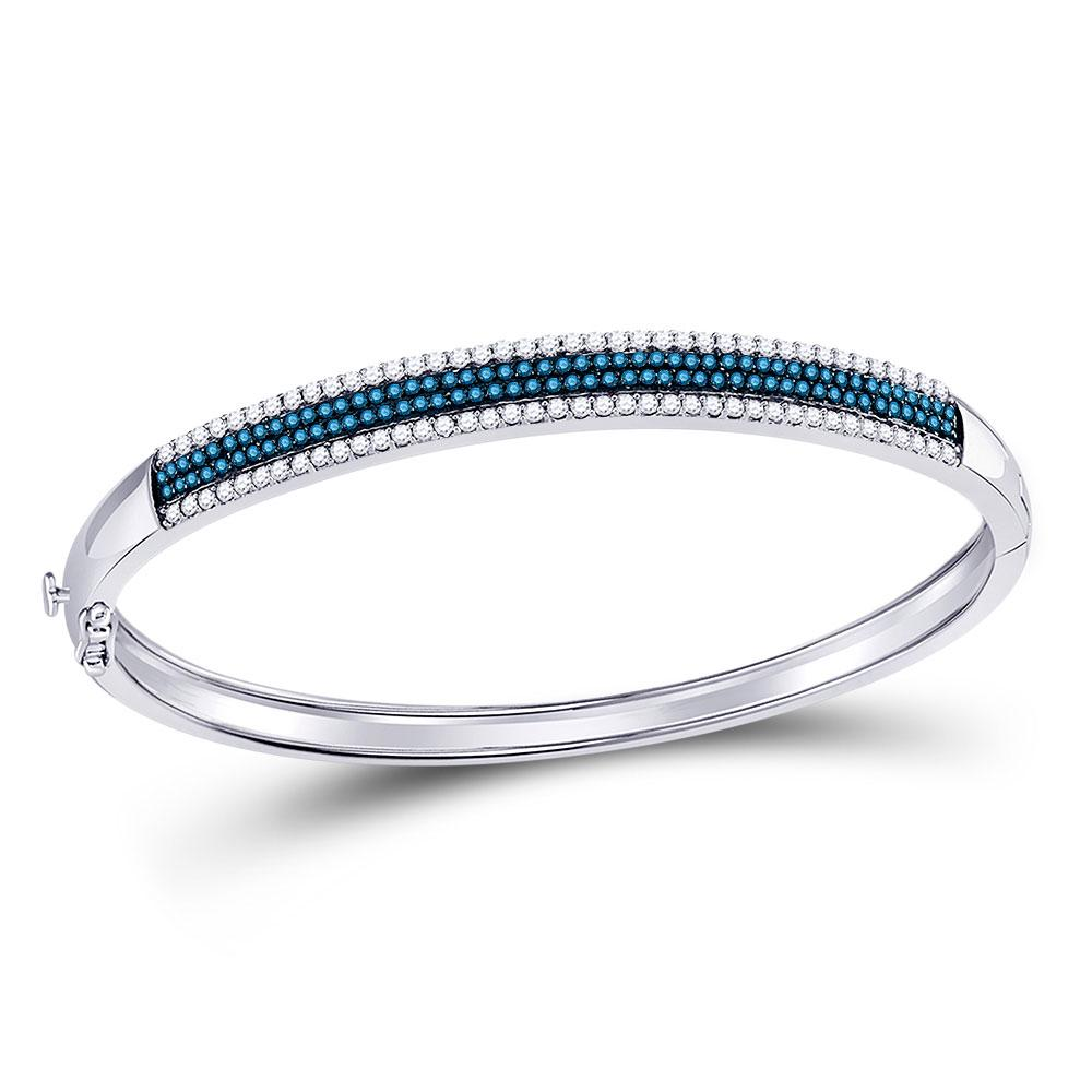 GND Diamond Bangle Bracelet 14kt White Gold Womens Round Blue Color Enhanced Diamond Bangle Bracelet 1-3/8 Cttw