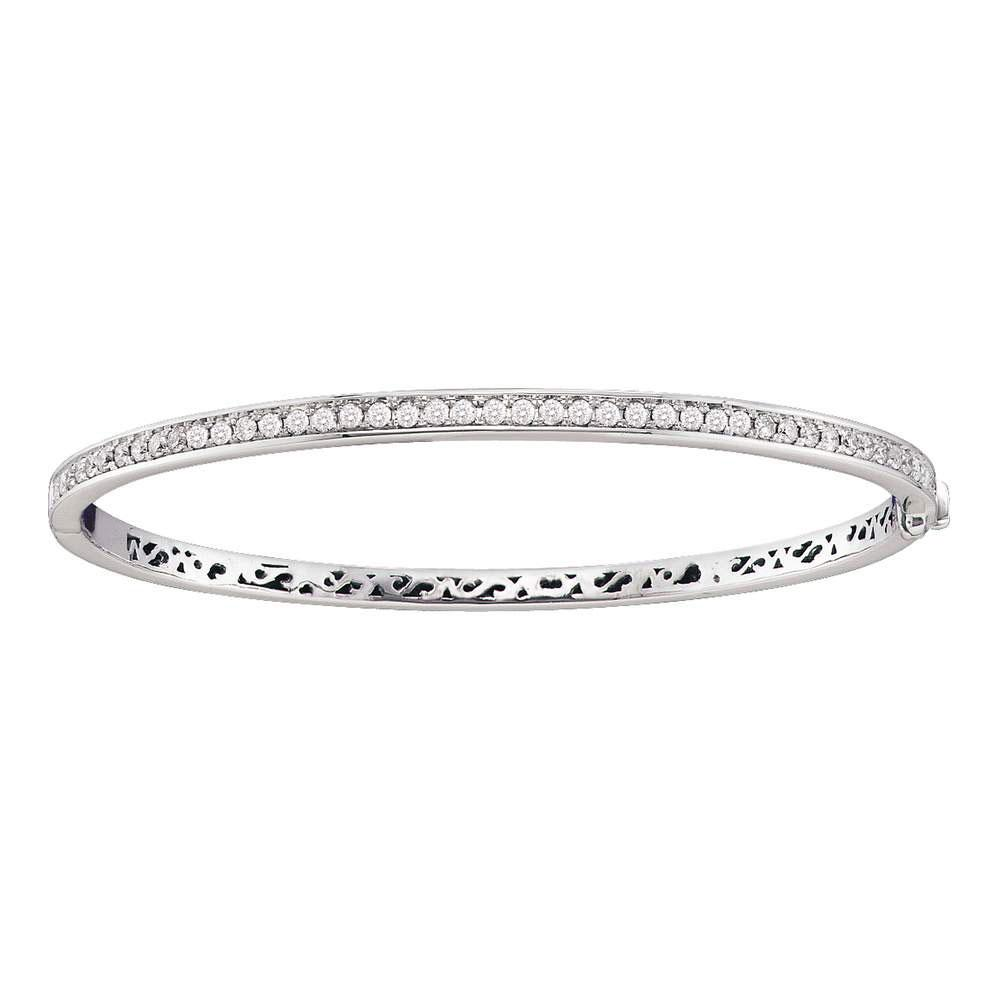 GND Diamond Bangle Bracelet 14kt White Gold Womens Round Diamond Classic Single Row Bangle Bracelet 1 Cttw