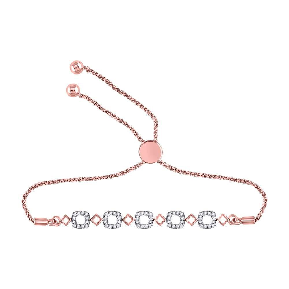 GND Diamond Bolo Bracelet 10kt Rose Gold Womens Round Diamond Linked Squares Bolo Bracelet 1/4 Cttw