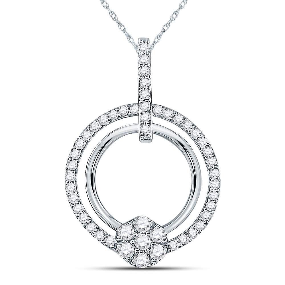 GND Diamond Circle Pendant 10kt White Gold Womens Round Diamond Circle Cluster Pendant 3/8 Cttw