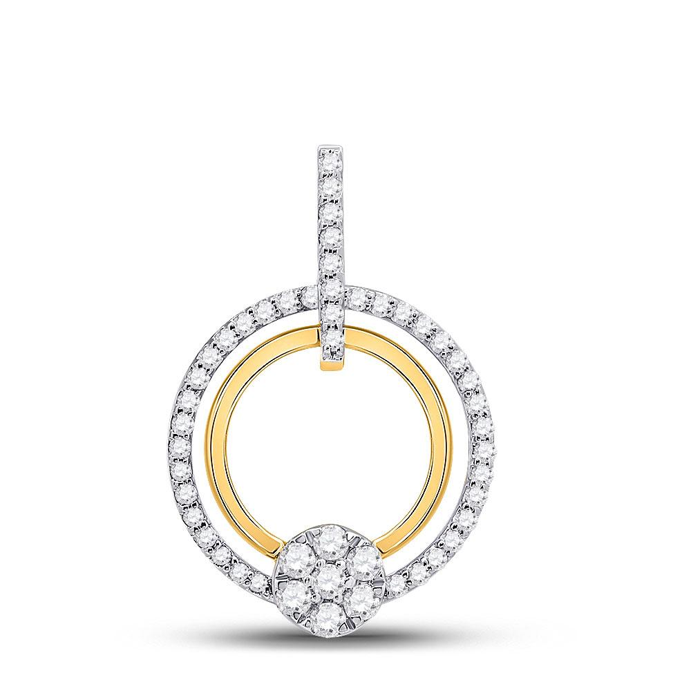 GND Diamond Circle Pendant 10kt Yellow Gold Womens Round Diamond Circle Cluster Pendant 3/8 Cttw