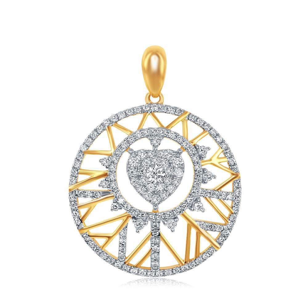 GND Diamond Circle Pendant 14kt Yellow Gold Womens Round Diamond Modern Starburst Heart Pendant 5/8 Cttw