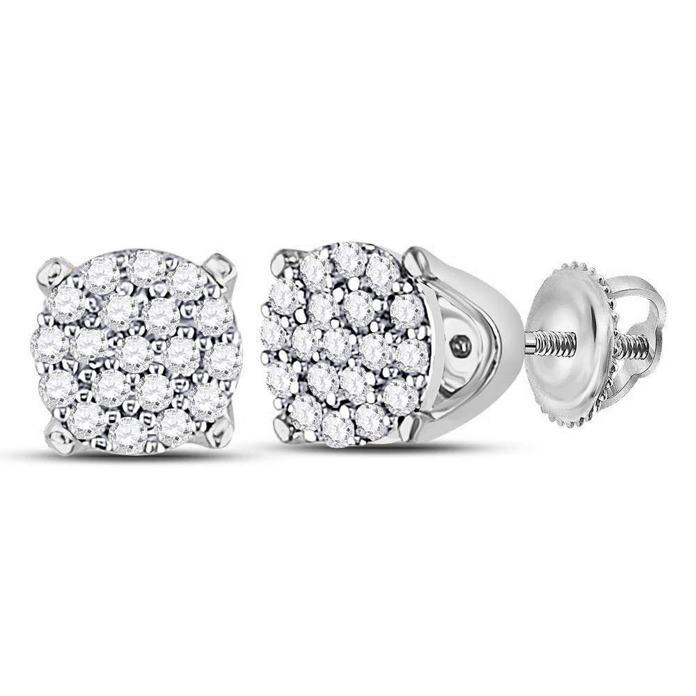 GND Diamond Cluster Earring 10kt White Gold Womens Round Diamond Cluster Earrings 1/8 Cttw