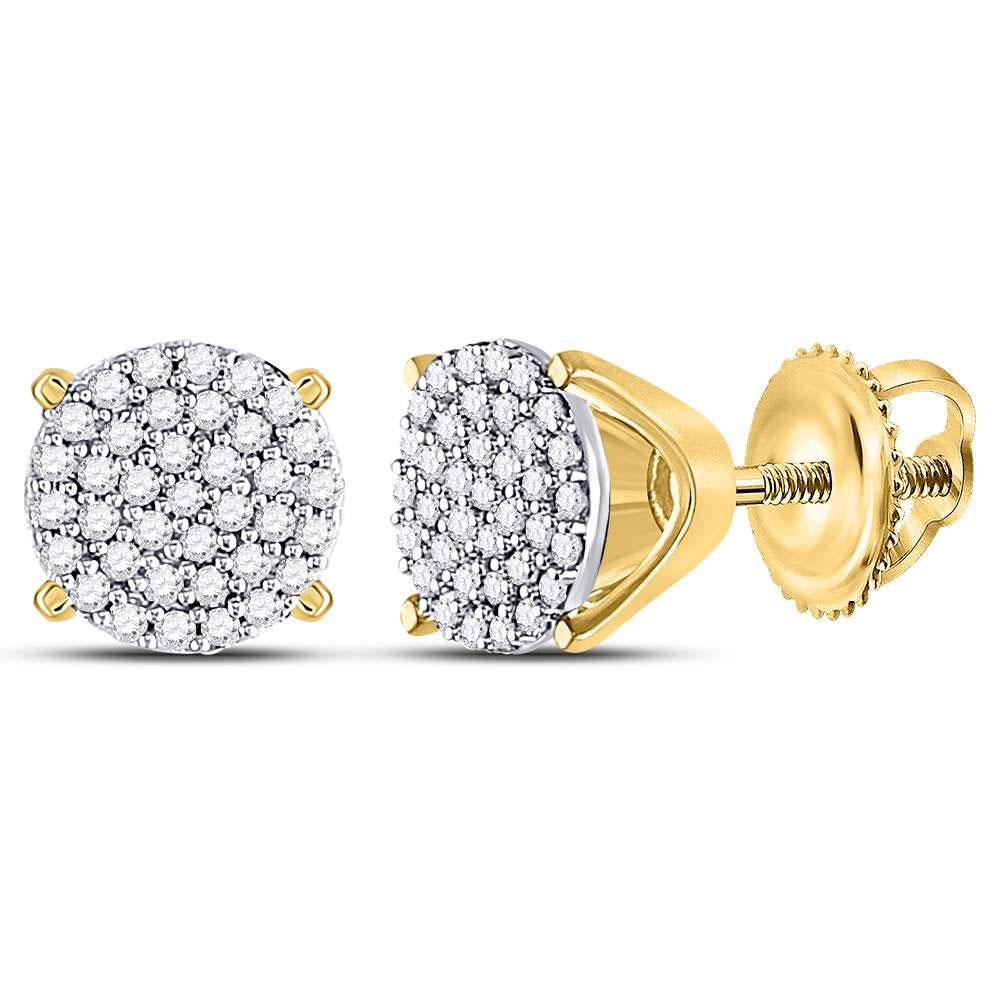 GND Diamond Cluster Earring 10kt Yellow Gold Womens Round Diamond Circle Cluster Stud Earrings 1/4 Cttw