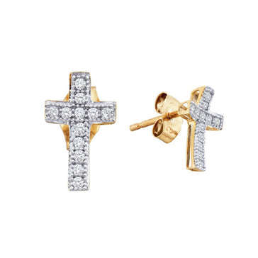 GND Diamond Cluster Earring 10kt Yellow Gold Womens Round Diamond Cross Earrings 1/10 Cttw