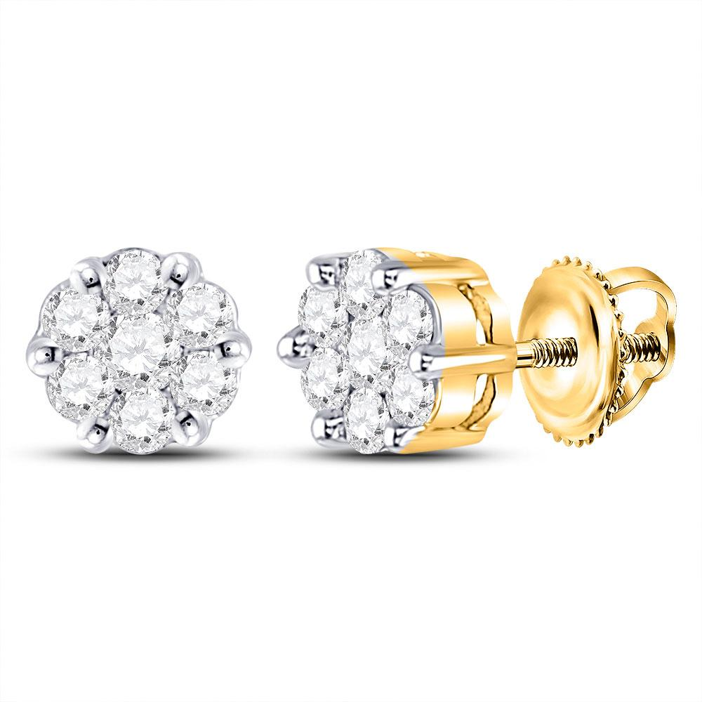 GND Diamond Cluster Earring 10kt Yellow Gold Womens Round Diamond Flower Cluster Earrings 1/4 Cttw