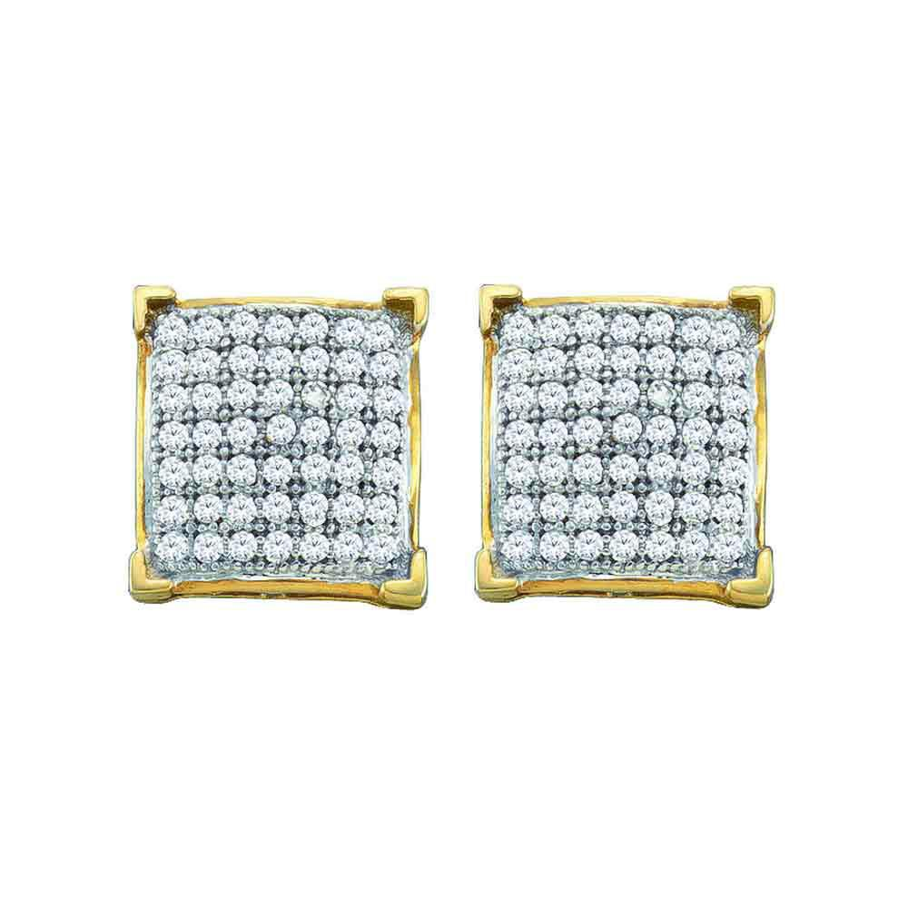 GND Diamond Cluster Earring 10kt Yellow Gold Womens Round Pave-set Diamond Square Cluster Earrings 1/10 Cttw