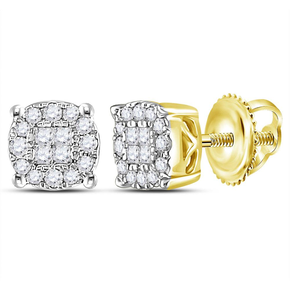 GND Diamond Cluster Earring 14kt Yellow Gold Womens Princess Round Diamond Cluster Earrings 1/4 Cttw