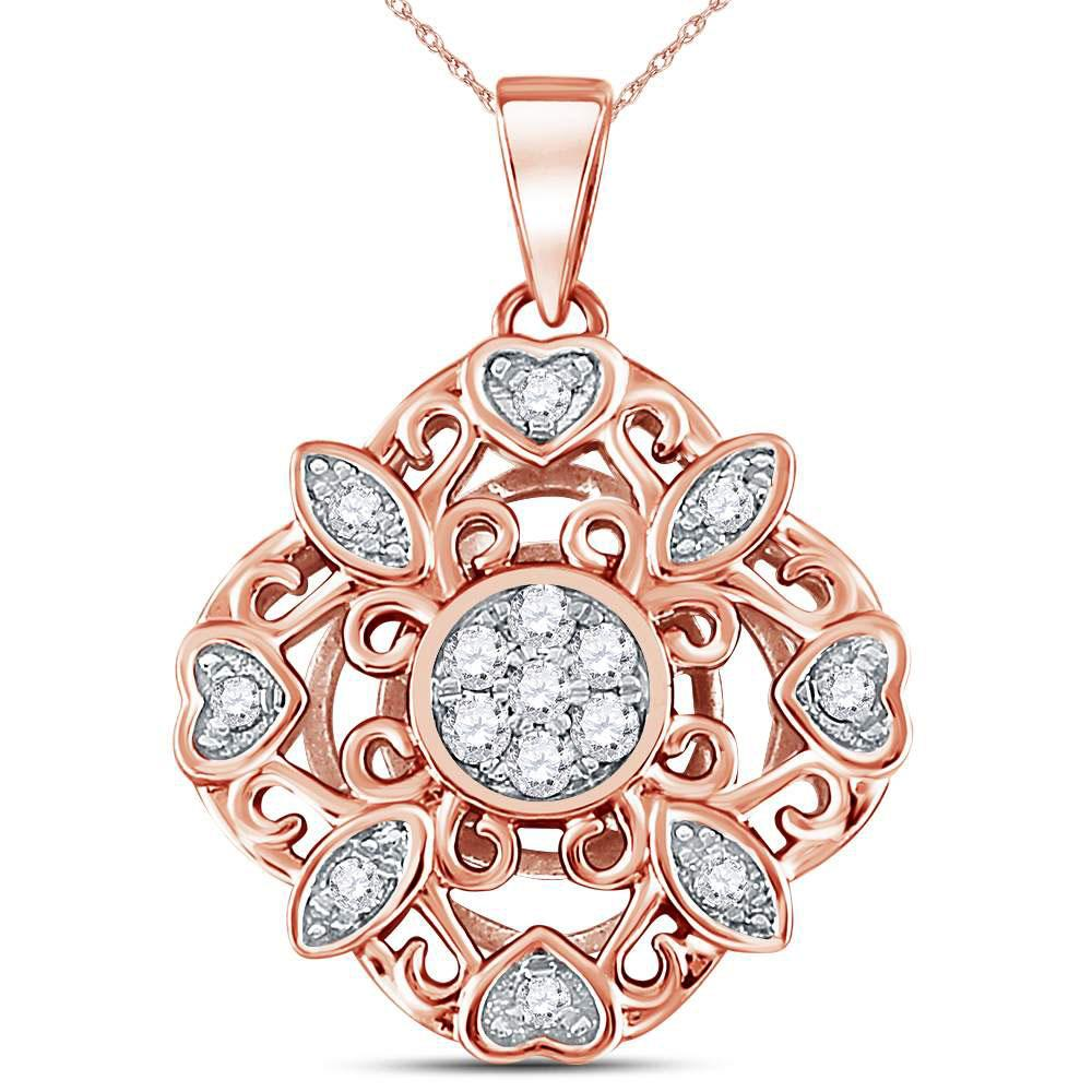 GND Diamond Cluster Pendant 14kt Rose Gold Womens Round Diamond Diagonal Square Heart Cluster Pendant 1/4 Cttw