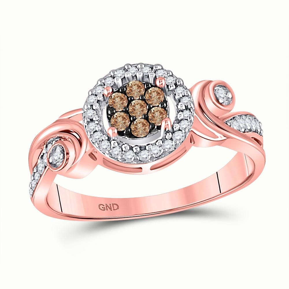 GND Diamond Cluster Ring 10kt Rose Gold Womens Round Brown Diamond Fashion Cluster Ring 1/4 Cttw