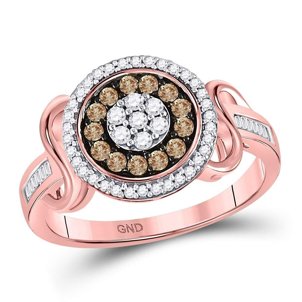 GND Diamond Cluster Ring 10kt Rose Gold Womens Round Brown Diamond Flower Cluster Ring 1/2 Cttw