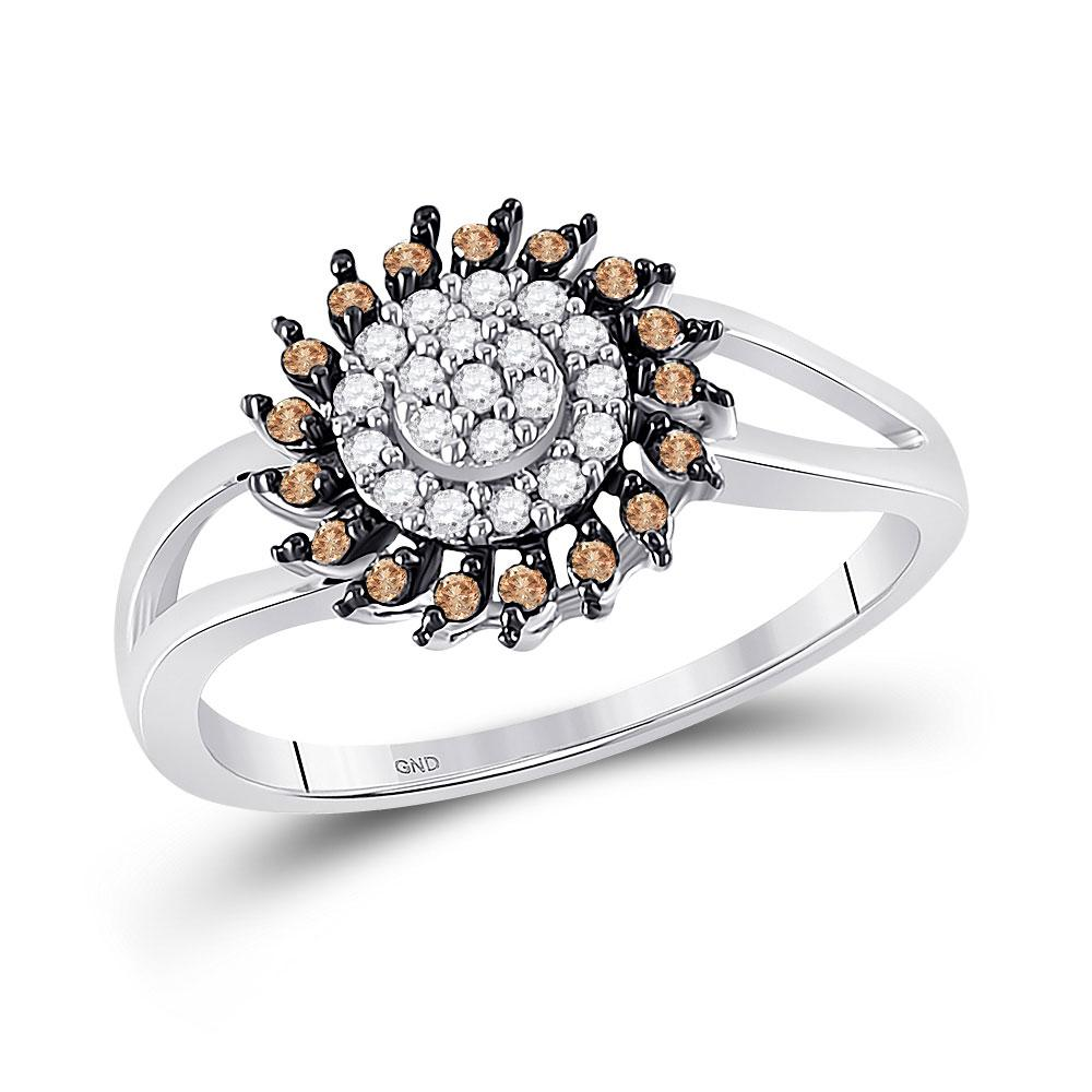 GND Diamond Cluster Ring 10kt White Gold Womens Round Brown Diamond Flower Cluster Ring 1/4 Cttw