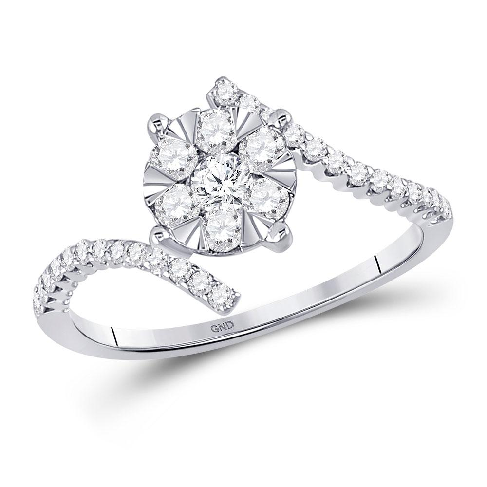 GND Diamond Cluster Ring 10kt White Gold Womens Round Diamond Bypass Flower Cluster Ring 1/2 Cttw