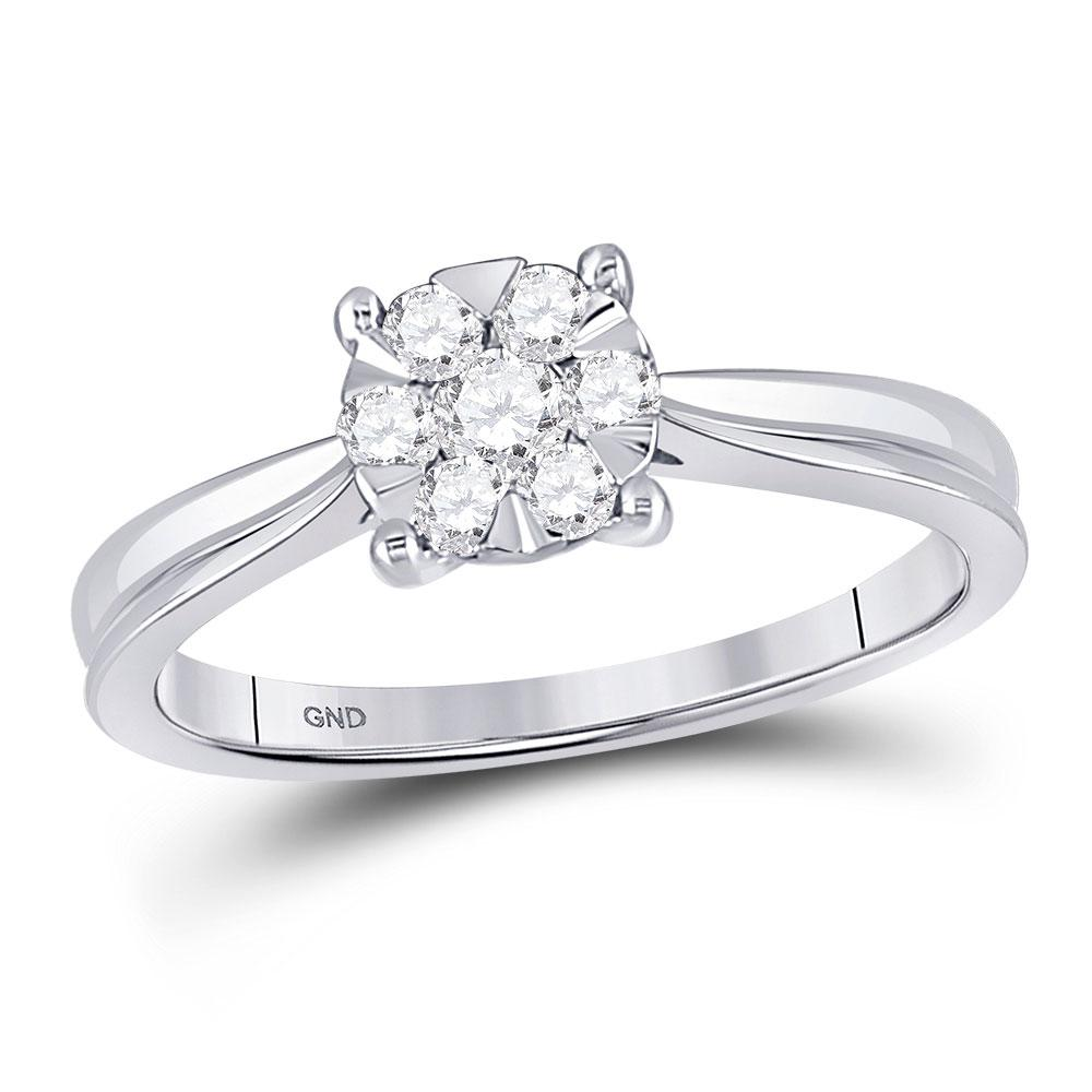 GND Diamond Cluster Ring 10kt White Gold Womens Round Diamond Flower Timeless Cluster Ring 1/3 Cttw