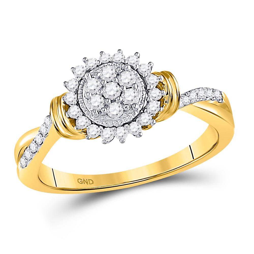 GND Diamond Cluster Ring 10kt Yellow Gold Womens Round Diamond Circle Flower Cluster Ring 1/3 Cttw